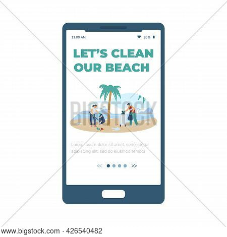 Onboarding Screen For Beach Clean Up Ecological Event, Flat Vector Illustration.