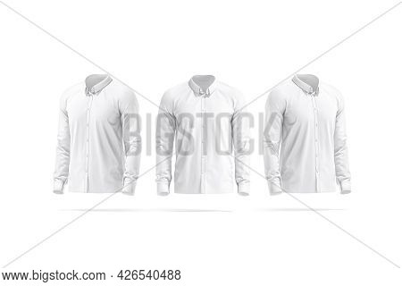 Blank White Classic Shirt Mockup, Front And Side View, 3d Rendering. Empty Male Classy Dress Shirt M