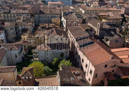 Cityscape With Rooftops Of Lucca Town From Torre Ginigi Tower. Tuscany Central Italy Europe