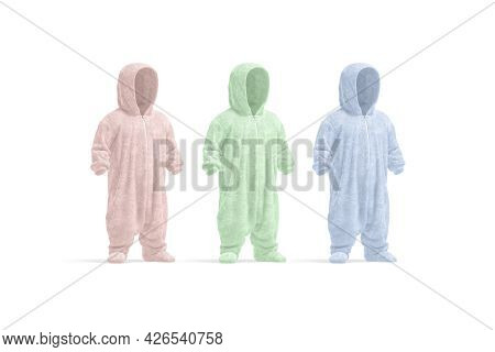 Blank Colored Kid Plush Jumpsuit With Hood Mockup, Side View, 3d Rendering. Empty Green, Blue And Pi