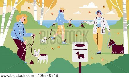 People At Park Cleaning Up Dogs Excrements, Cartoon Vector Illustration.