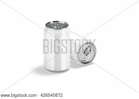 Blank White Aluminum 330 Ml Soda Can Mockup, Stand And Lying, 3d Rendering. Empty Metal Bank With Ae