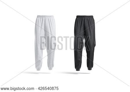 Blank Black And White Sport Sweatpants Mockup, Front View, 3d Rendering. Empty Fabric Joggers For Sp