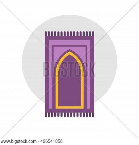 Carpet For Namaz Clipart Flat Illustration. Mat For Prayer Flat Illustration. Arabic Carpet Icon.
