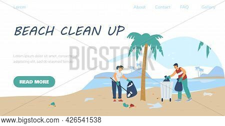 Beach Clean Up Volunteering Event Concept Of Webpage Flat Vector Illustration.