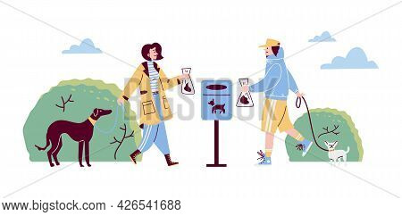 Pets Owners Cleaning Up After Their Dogs, Cartoon Vector Illustration.