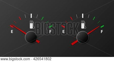 Vector 3d Realistic Gas Fuel Tank Gauge, Oil Level Bar On Black Background. Full And Empty. Car Dash