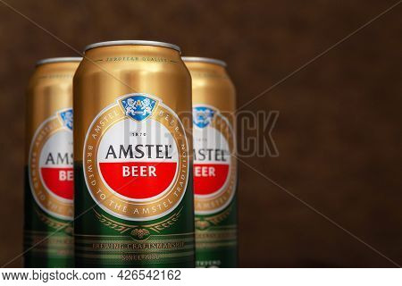 Beer Can. Amstel Beer Close-up On A Dark Background With Copy Space. An Internationally Renowned Bra