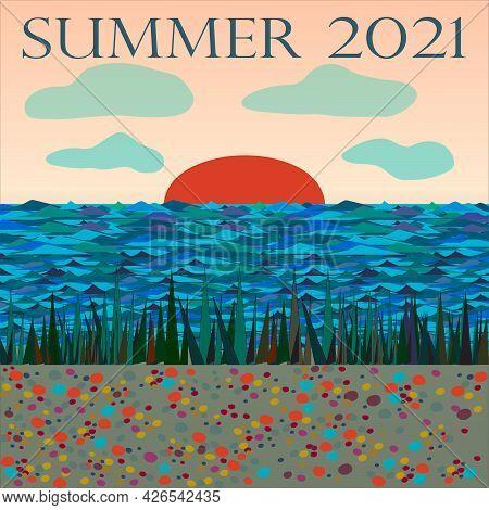 Sandy River Bank At Sunset. Stones, Sand, Water, Sun, Summer.