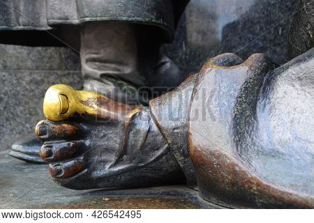 The Finger Of The Bronze Statue, The Finger Of The Wish Fulfillment On The Statue.