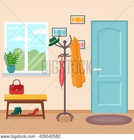 Home Hallway Interior With Door, Vector Illustration