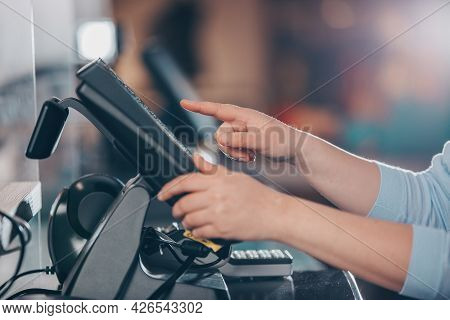 Pos Concept, Young Woman Hand Doing Process Payment On A Touchscreen Cash Register, Finance, Shoppin