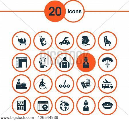 Aviation Icons Set With Hand Baggage, Pilot, Globe With Flag World Elements. Isolated Vector Illustr