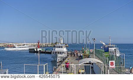 Yalta, Crimea-june 8, 2021: Seascape With A Pleasure Ship On The Background Of Yalta