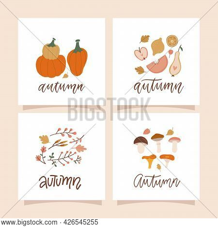 Autumn Mood Square Cards With Autumn Natural Compositions Of Leaves, Mushrooms, Twigs, Berries And P