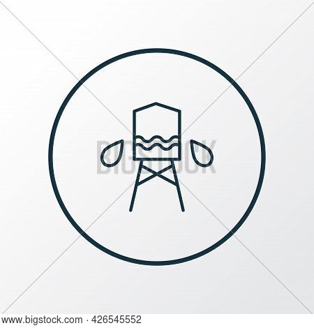 Water Tank Icon Line Symbol. Premium Quality Isolated Reservoir Element In Trendy Style.
