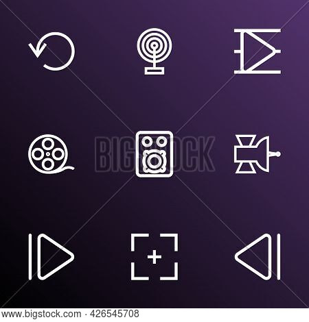 Media Icons Line Style Set With Film Reel, Upward, Full Screen And Other Speaker Elements. Isolated