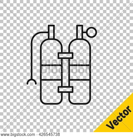 Black Line Aqualung Icon Isolated On Transparent Background. Oxygen Tank For Diver. Diving Equipment
