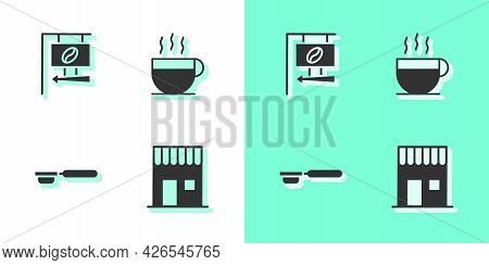 Set Coffee Shop, Street Signboard Coffee, Filter Holder And Cup Icon. Vector
