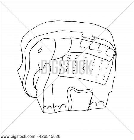 Wooden Box In Elephant Shape. Outline Elephant Symbol. Doodle Illustration.