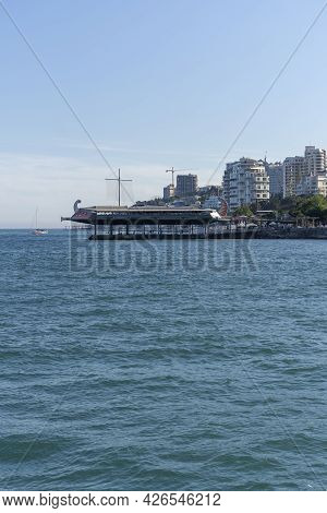 Yalta, Crimea-june 12, 2021: View From The Sea On The City Landscape.
