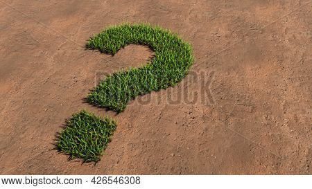 Concept conceptual green summer lawn grass symbol shape on brown soil or earth background, question mark. 3d illustration metaphor for communication, interrogation, advice, creative thinking, solution