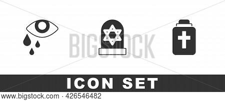 Set Tear Cry Eye, Grave With Star Of David And Funeral Urn Icon. Vector