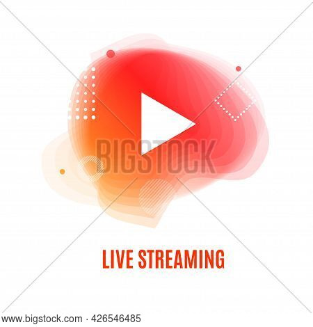 Play Button Live Streaming Or Vlogging Concept. Vector