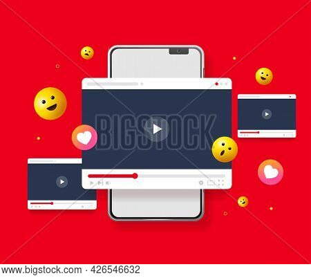 Vlogging Concept With Realistic Detailed 3d Mobile Phone And Video Player Screen. Vector