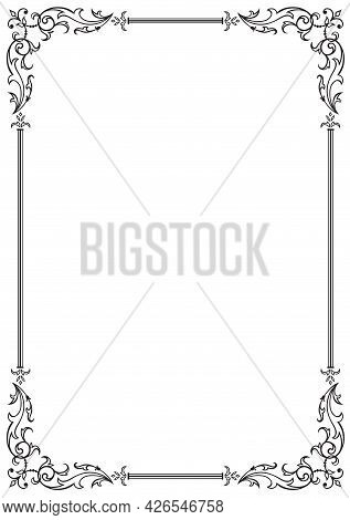 Calligraphic Floral Frame And Page Decoration. Vector Illustration. Vector Of Decorative Vertical El