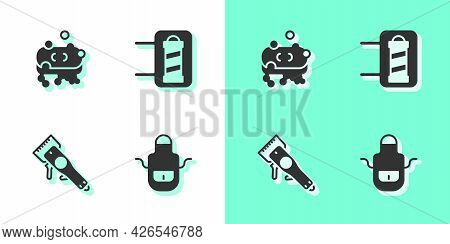 Set Barber Apron, Of Soap With Foam, Electrical Hair Clipper And Shop Pole Icon. Vector