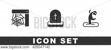 Set Spider Web, Tombstone With Rip Written And Zombie Hand Icon. Vector