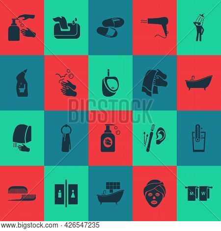 Bathroom Icons Set With Toilet Cleaner, Hanging Towel, Bathroom Tiles And Other Cleanliness Elements
