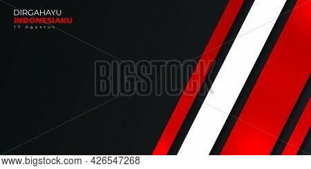 Indonesia Independence Day With Geometric Background Design. Indonesian Text Mean Is Longevity Indon