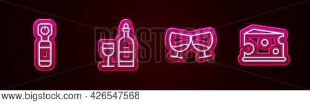 Set Line Bottle Opener, Wine Bottle With Glass, Glass Of Cognac Or Brandy And Cheese. Glowing Neon I