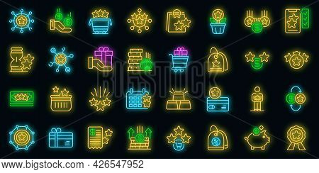 Bonus Icons Set. Outline Set Of Bonus Vector Icons Neon Color On Black
