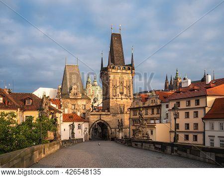 Lesser Town Bridge Tower Called Malostranske Mostecke Veze On Charles Bridge In Prague, Czech Republ