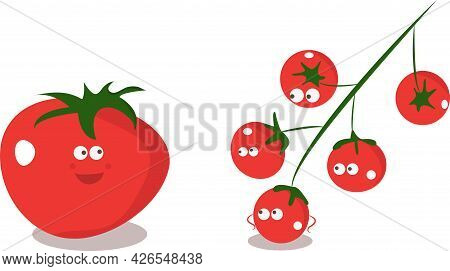 Cute Family Of Tomato Characters - Big Tomato And Small Cherry Tomatoes