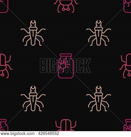 Set Line Stink Bug, Termite And Spider Jar On Seamless Pattern. Vector