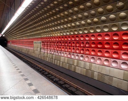 Prague, Czech Republic - July 4 2021: Staromestska Metrro Station In The Old Town Of Praha.