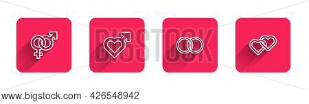 Set Line Gender, Heart With Male Gender, Wedding Rings And Two Linked Hearts With Long Shadow. Red S