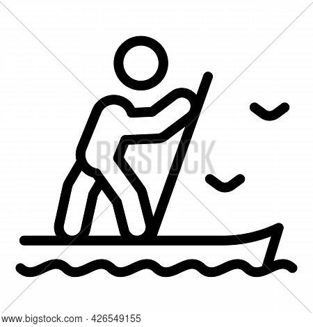 Sup Surf Icon Outline Vector. Paddle Board Surf. Stand Up Sup Surf