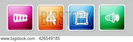 Set Line Xylophone, Triangle, Guitar Amplifier And Speaker Volume. Colorful Square Button. Vector