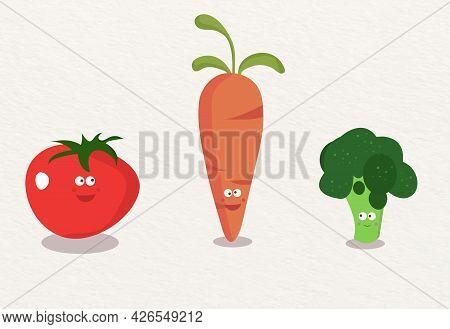 Set Of Cute Vegetables For You - Signor Tomato, Signora Carrot And Signorina Broccoli.