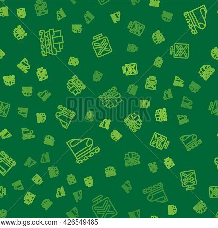 Set Line Cargo Train Wagon, High-speed And Railroad Crossing On Seamless Pattern. Vector