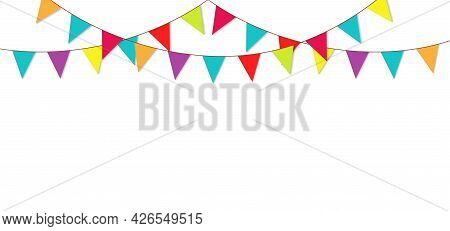 Party Flag Garland. Bunting For Birthday And Fair. Colorful Triangle Flag For Carnival Isolated On W
