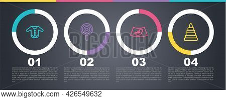 Set Line Baby Clothes, Lollipop, Ultrasound Of Baby And Pyramid Toy. Business Infographic Template.