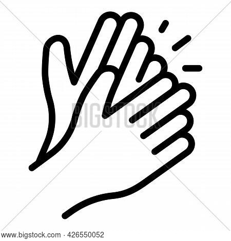 Applause Icon Outline Vector. Handclap Support. Hand Clap Encourage