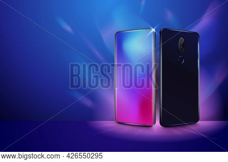 Back And Front Smartphone View. Realistic Mobile Phone In Different Views. Mock Up Or Template Cell