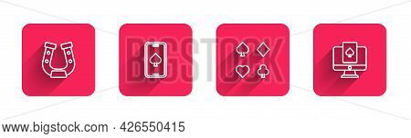 Set Line Horseshoe, Online Poker Table Game, Deck Of Playing Cards And With Long Shadow. Red Square